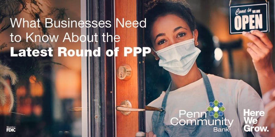 paycheck protection program, what businesses need to know image of business owner standing in doorway with a mask, flipping a sign over to say open