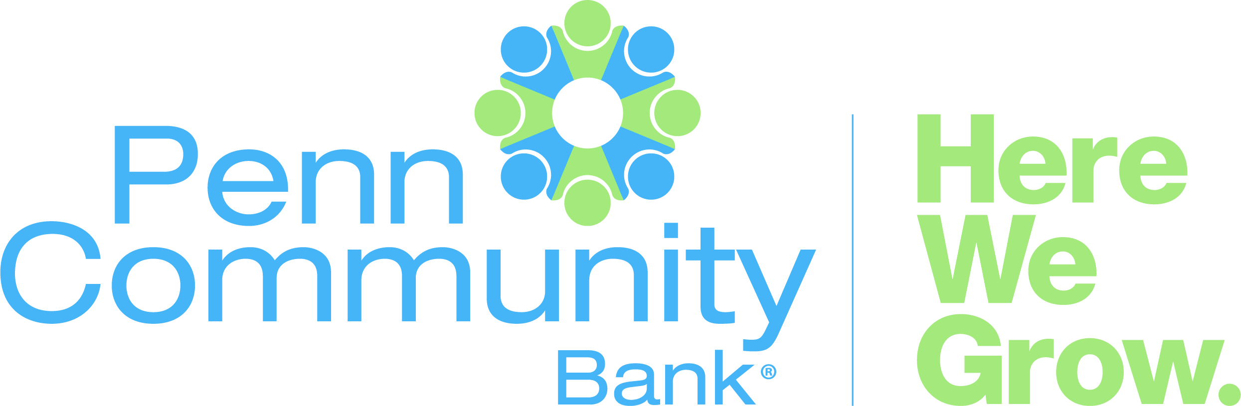 Penn Community Bank Logo. Here We Grow