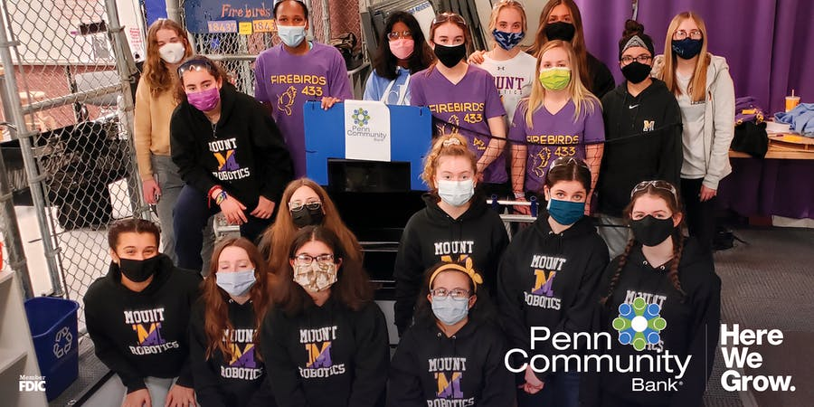 penn community bank community involvement group photo, girls STEM club group picture
